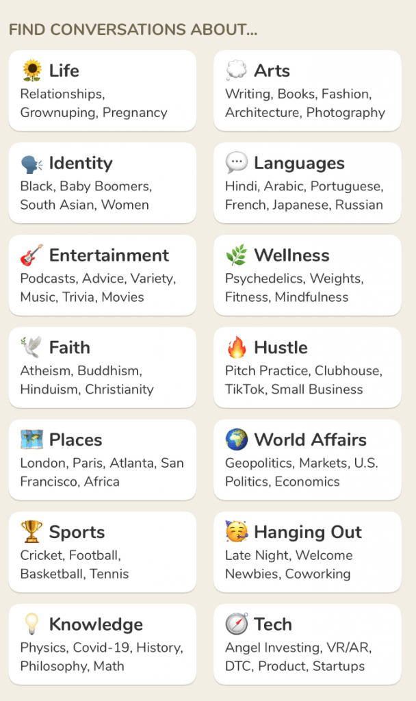 Clubhouse content categories