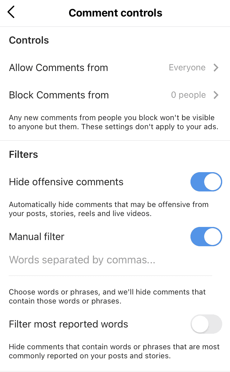 Filtering options to eliminate spam on Instagram.
