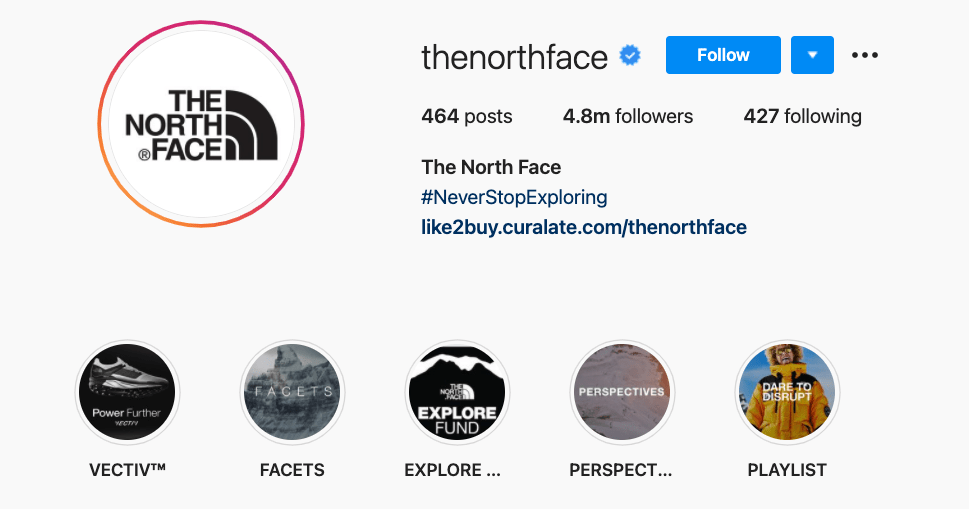 The North Face's highlighted stories that reinforce their brand message