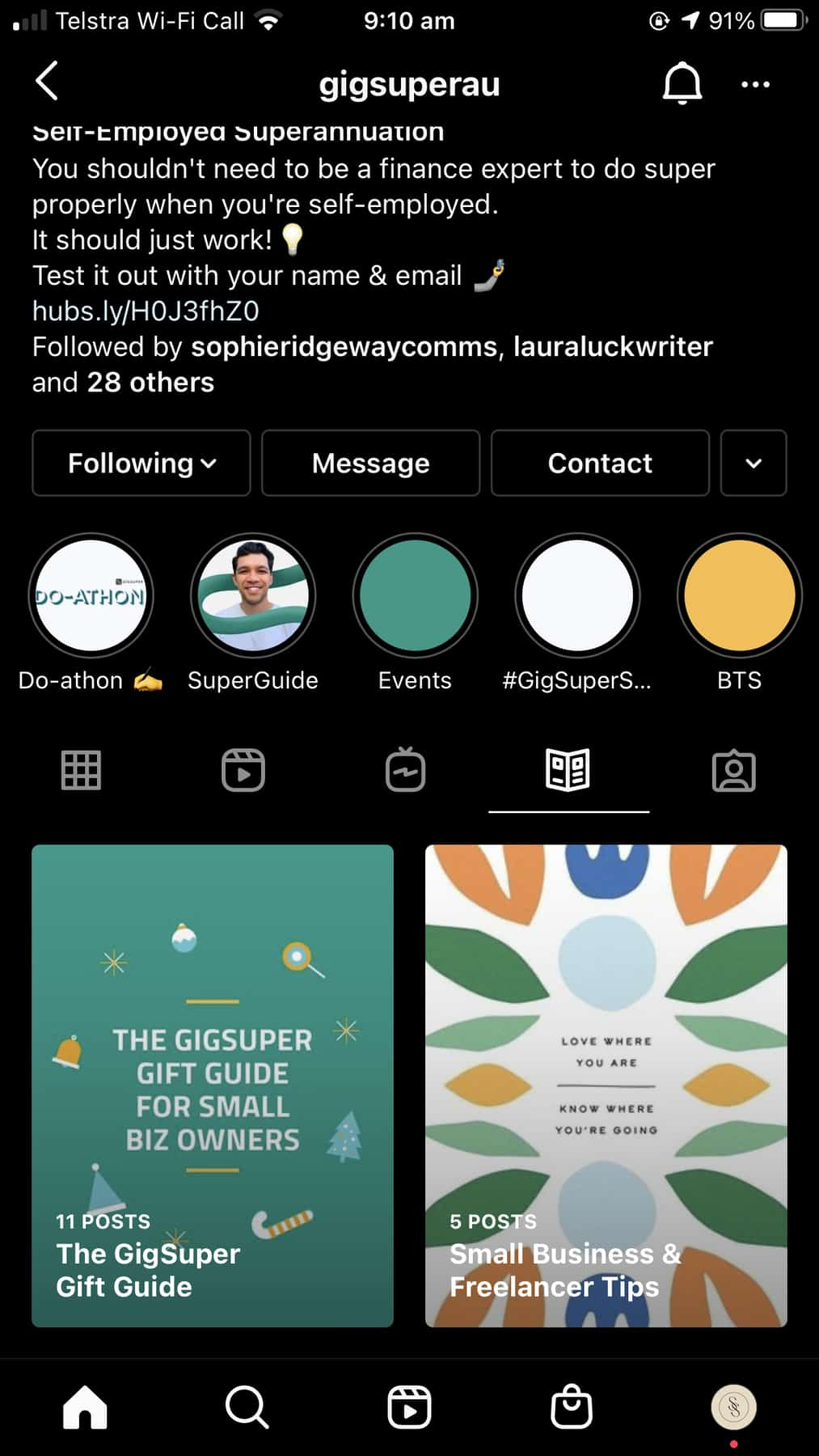Gig Super's Instagram showig guides to gifts for small biz owners and tips for small business and freelancers