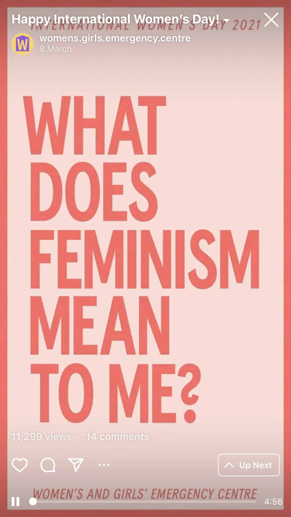 Women and girls emergency centre asking 'what does feminism mean to me?'