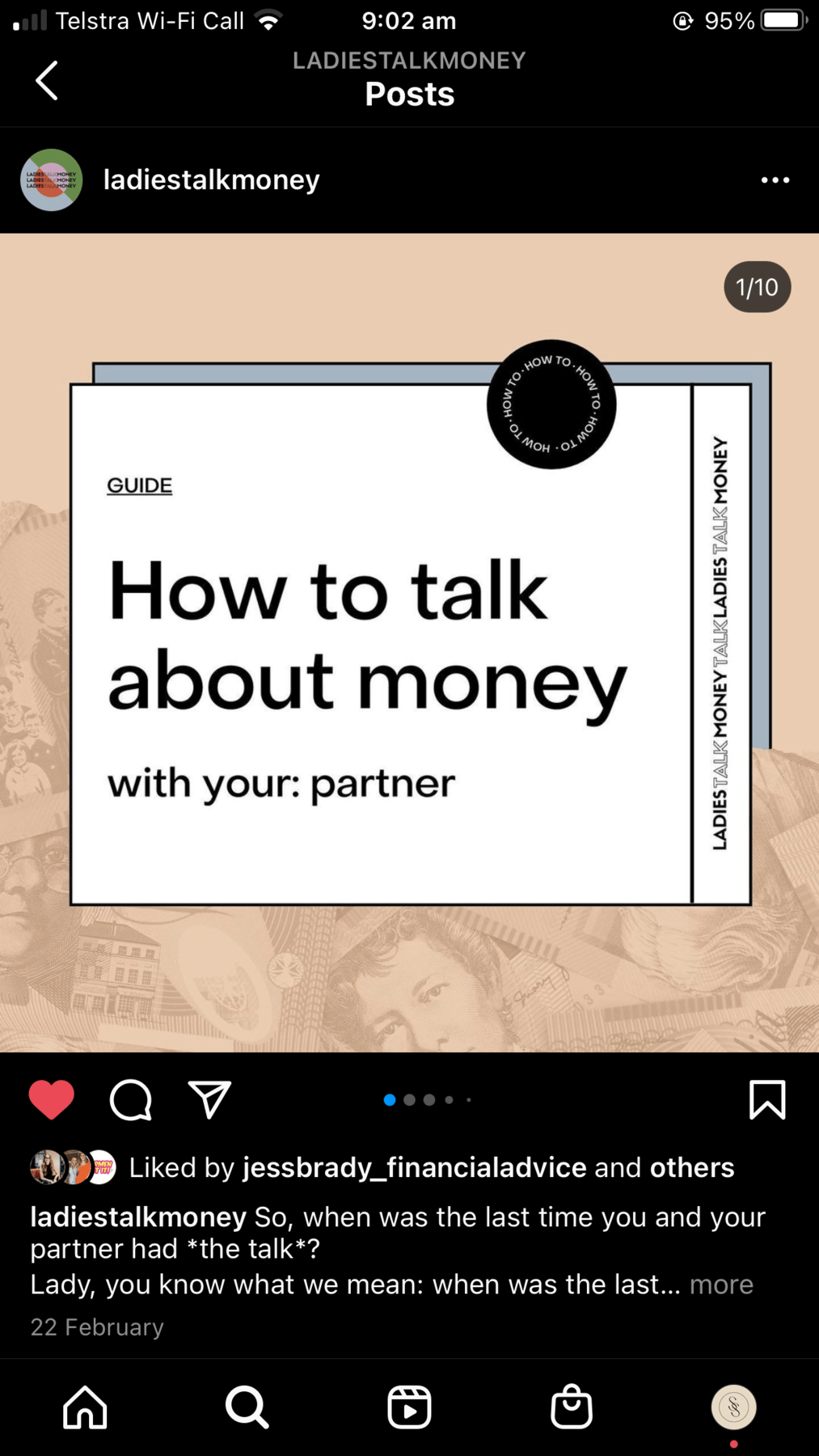 Ladies Talk Money carousel example how to talk about money with your partner slide one