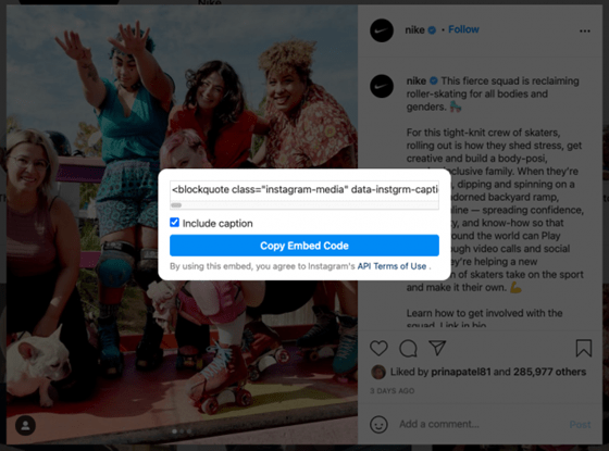 An example of embedding an Insta post