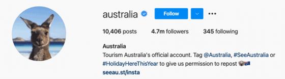 Australia's official Instagram account bio
