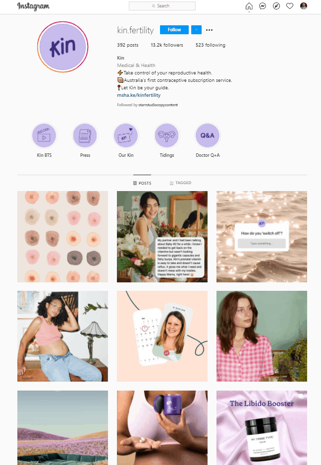Kinfertility's Instagram feed using a consistent colour palette and style