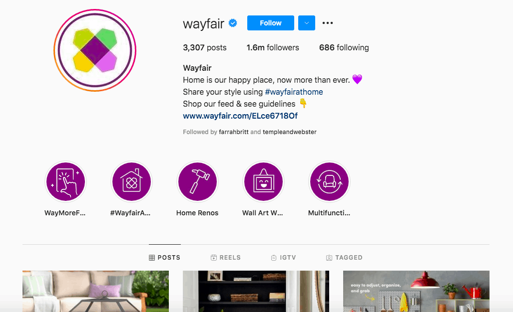 Wayfair's Instagram homepage asking for users to share their style with hashtag #wayfairathome