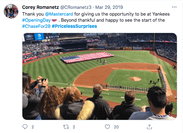 Tweet from man showing a picture of his view of a baseball game from his place in the bleachers