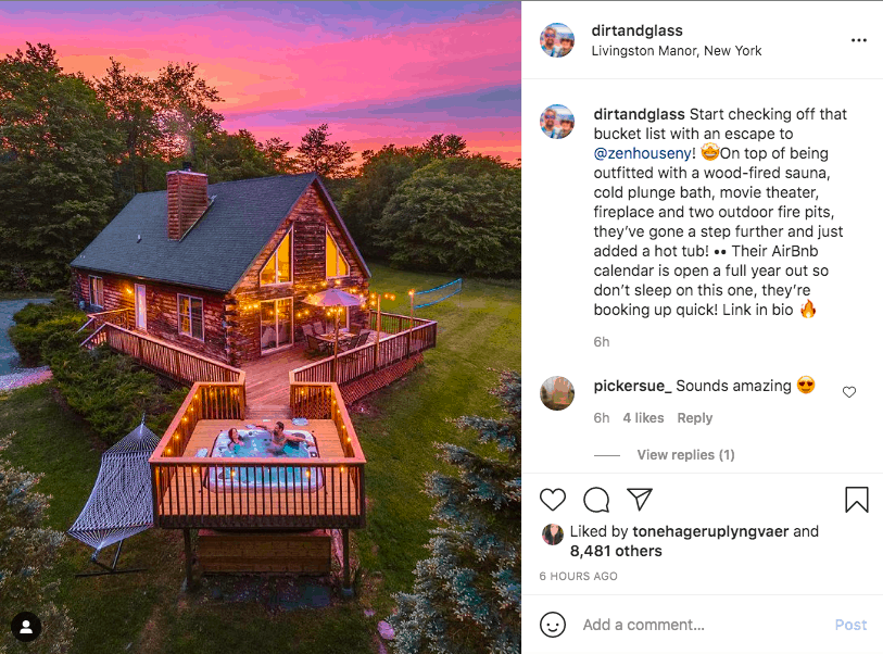 Instagram post of couple in hot tub outside of small cottage home surrounded by nature