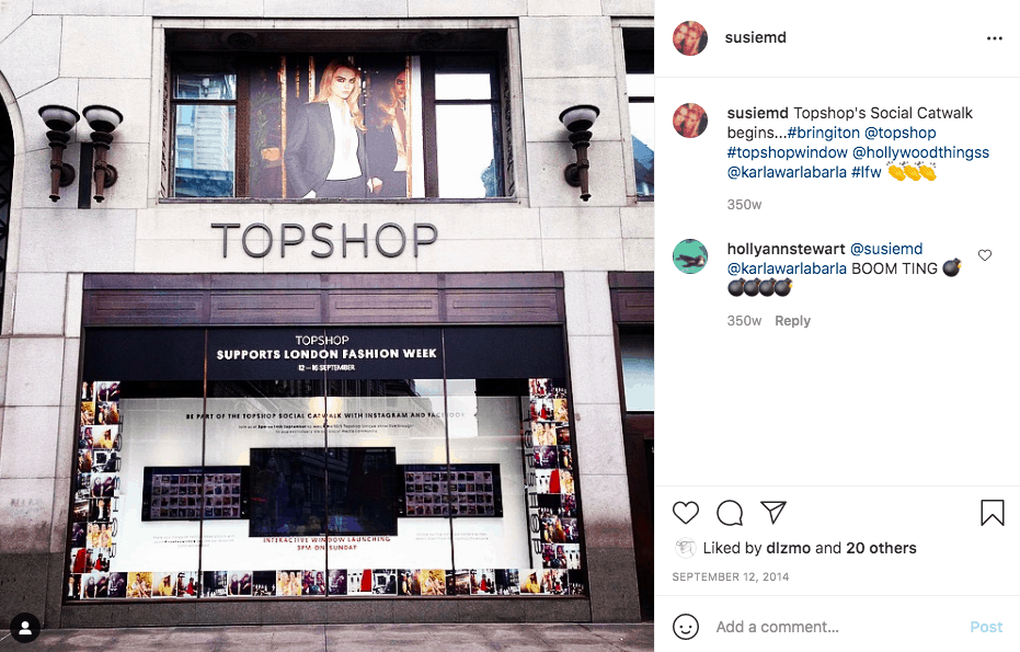 Instagram post of TopShop store running a virtual runway