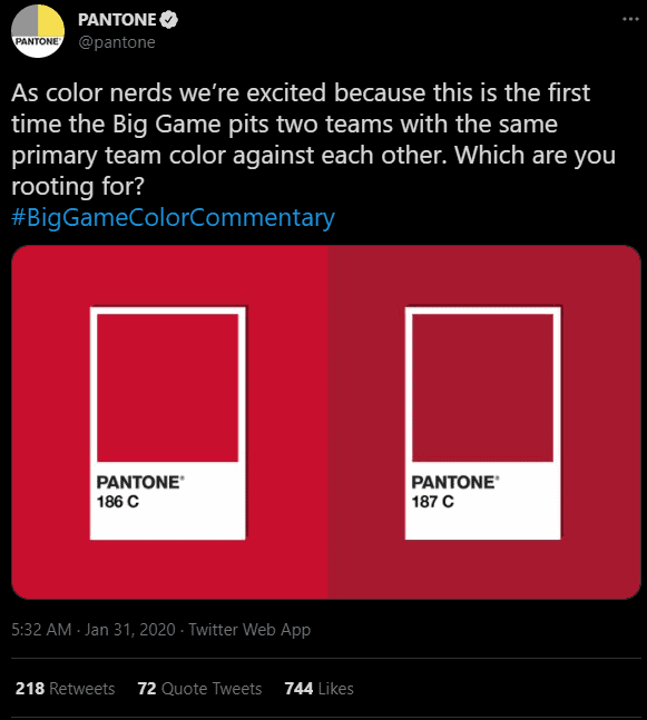 Pantone comparing two almost identical shades of red