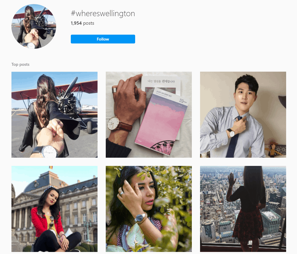 Hashtag page for #wheresweelington showcasing several Wellington watch wearers in exotic locations