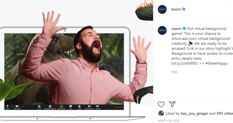 Zoom instagram post featuring man pretending to run away from a t-rex during a zoom call
