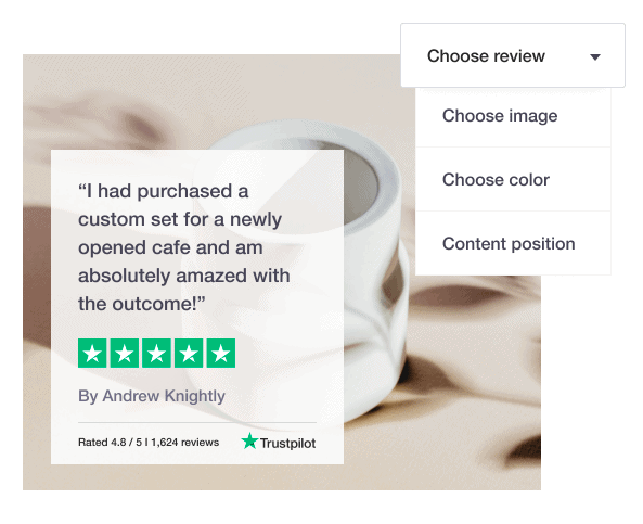 Trustpilot review example from satisfied customer bragging about their newly opened cafe