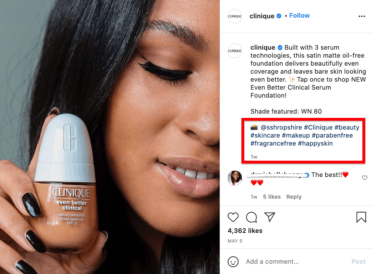 Clinique customer holding foundation product next to her face