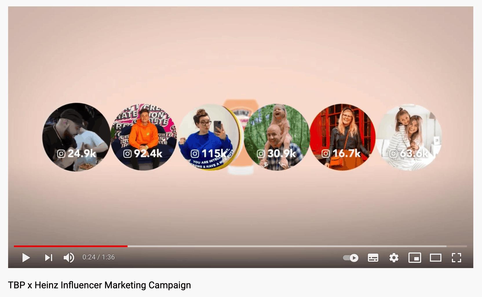 Heinz influencers YouTube screenshot