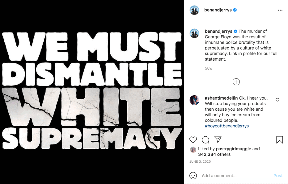 Ben and Jerry's BLM message on Instagram