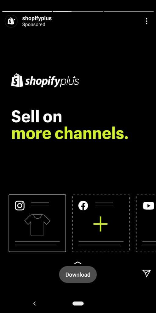 Shopify Swipe up lead generation story