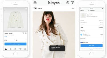 Instagram shopping feature, with product update, shoppable post, and checkout images