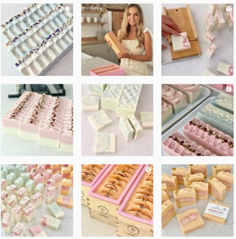 Flamingo soap aesthetic grid, with focus placed heavily on product and product arrangement