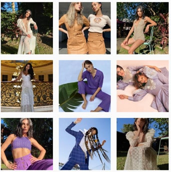 Aesthetic grid of female models from Alice