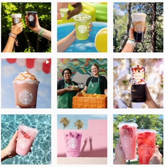 Starbuck's aesthetic grid, focusing on product images and bright colours