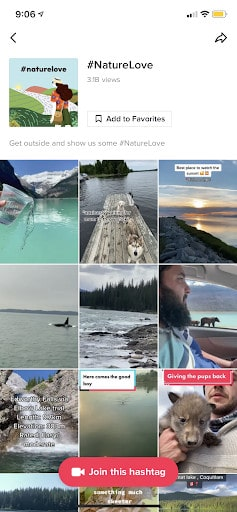 The results of #nature love on TikTok