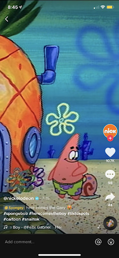 Patrick Star and Gary the snail out the front of Spongebob's pineapple house under the sea