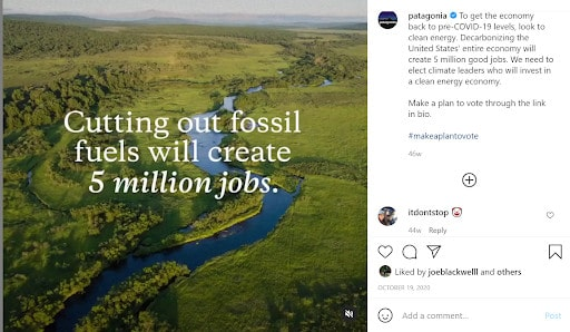 Patagonia's stance against fossil fuels