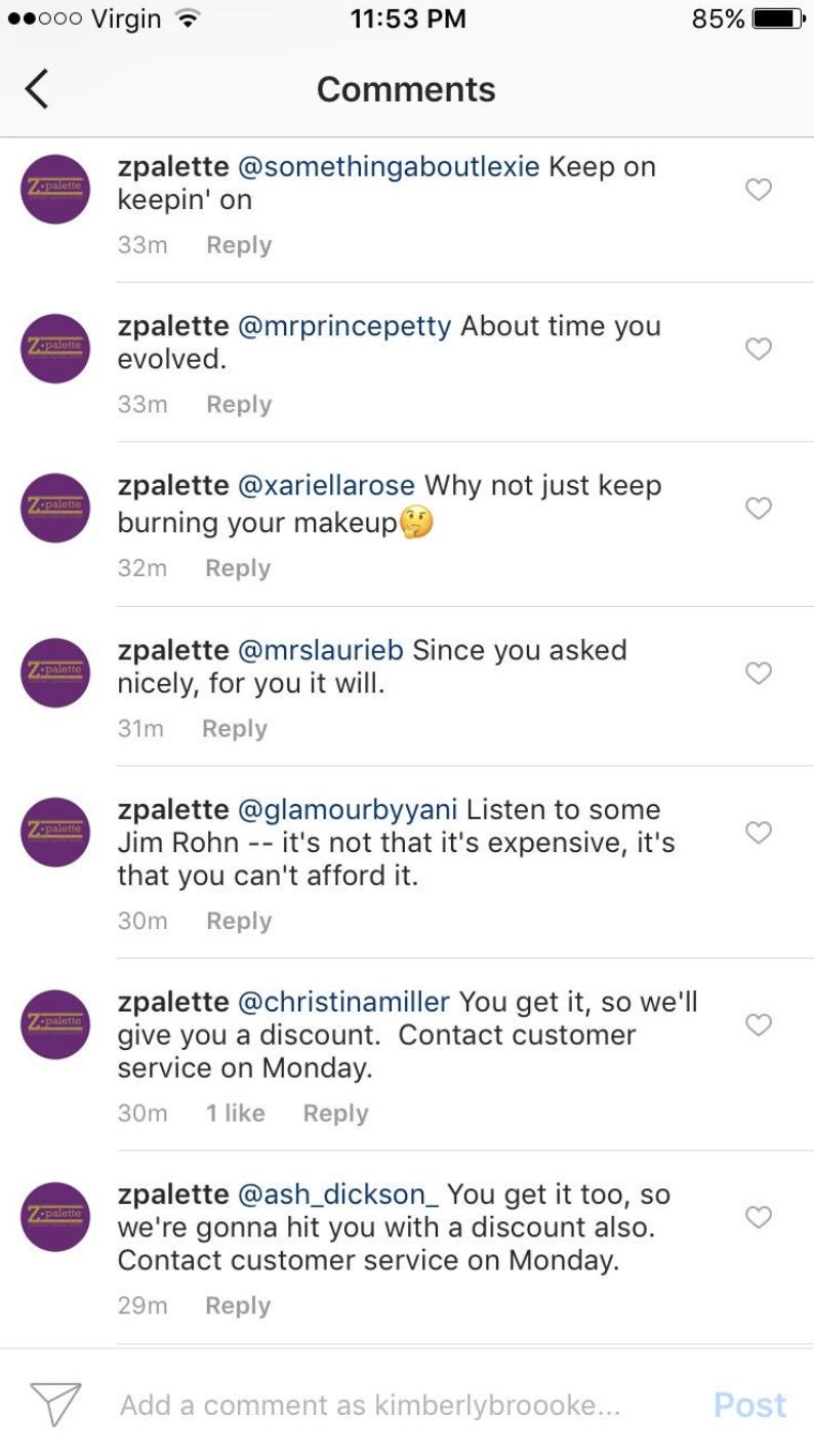 instagram fails Zpalette